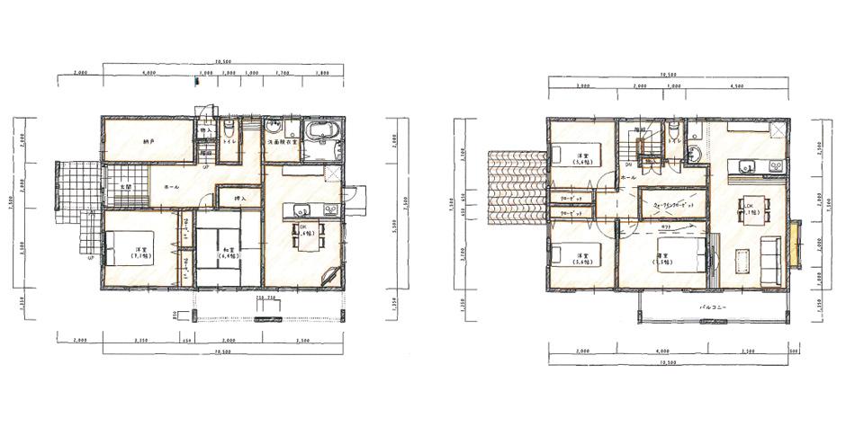 子世帯にはロフトを設置し、収納空間を確保した二世帯住宅