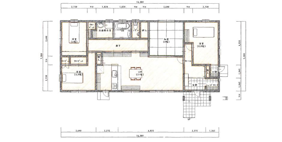 コンパクトでも、梁表の高い天井で開放感のある空間