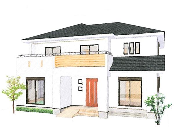 ちょっとした和空間が心地よい二世帯住宅