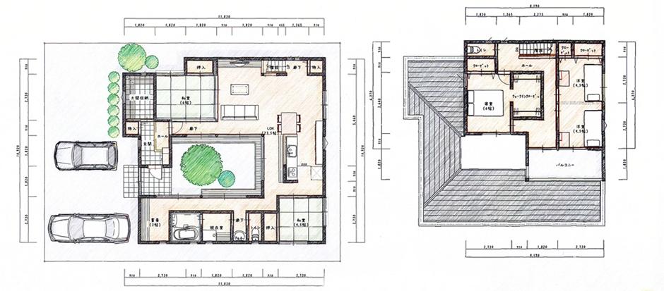 中心に庭をおいたデザインハウス