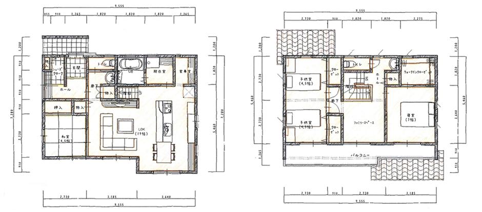アイランドキッチンと家事室のある家