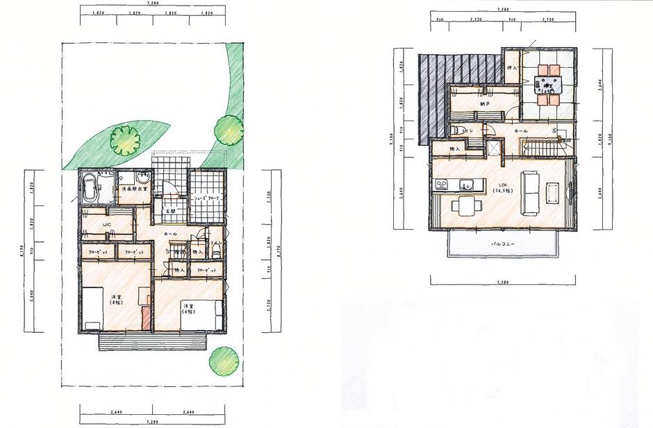 LDKを2階にした見晴らしのいい家