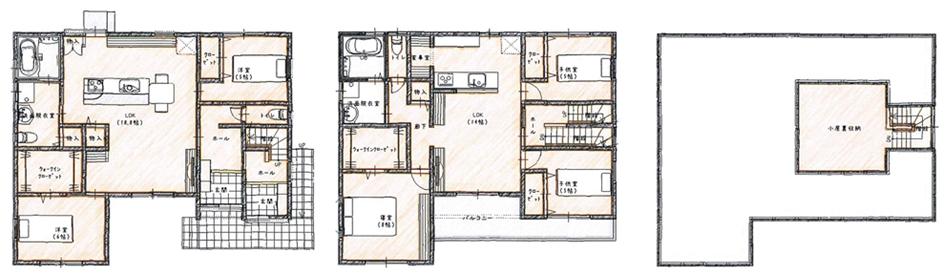 1階に個室が2つある家