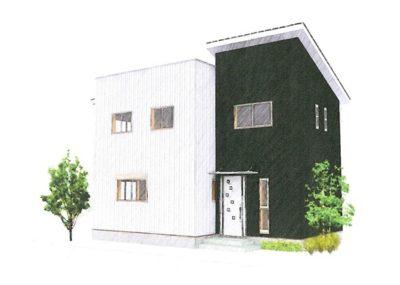 ラセン階段をポイントとしたシンプルな空間構成