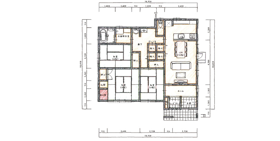 和室14帖の続き間を贅沢に取り入れた平屋住宅