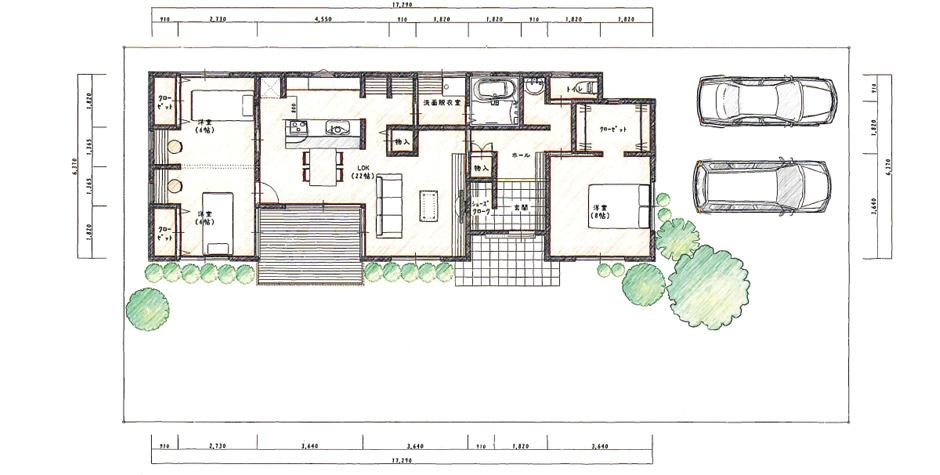 部屋が同じ平面にあることでの安心感ある平屋設計
