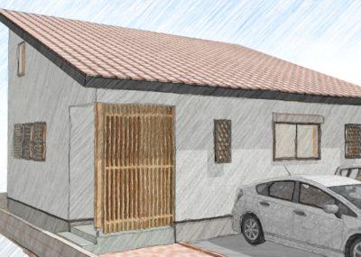 屋根裏空間のあるコンパクト住宅