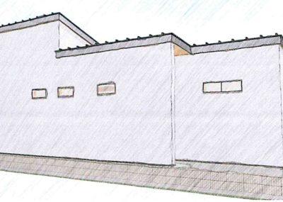 3LDK+小屋裏 東西に長い平屋 / 玄関が見えないデザイン
